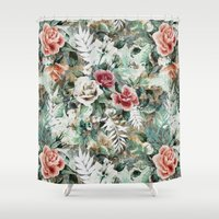 rose Shower Curtains featuring Rose Garden by RIZA PEKER