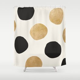 BLACK GOLD DOTS Shower Curtain