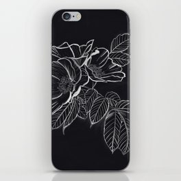 Chalked Roses - Black and White Modern Florals iPhone Skin
