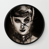 audrey Wall Clocks featuring Audrey  by Isaiah K. Stephens