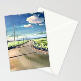 Awesome Lonely Road In Middle Of Greenery Anime Scenery Ultra High Definition Stationery Cards