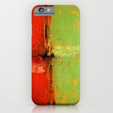 Textured abstract in green and orange iPhone 6s Slim Case