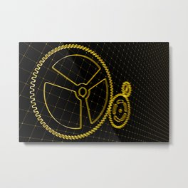 Set of orange gears and cogs on virtual screen Metal Print