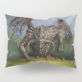 Fantastic Fantasy Earth Dragon Surfacing From Ground Scaring Little Girl Ultra HD Pillow Sham