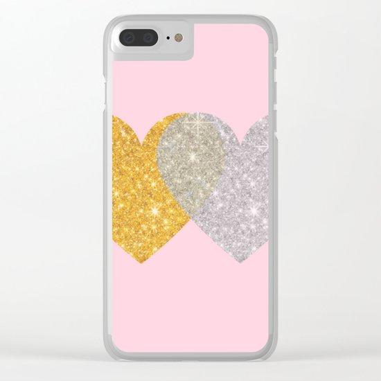 Glitter Hearts Clear iPhone Case