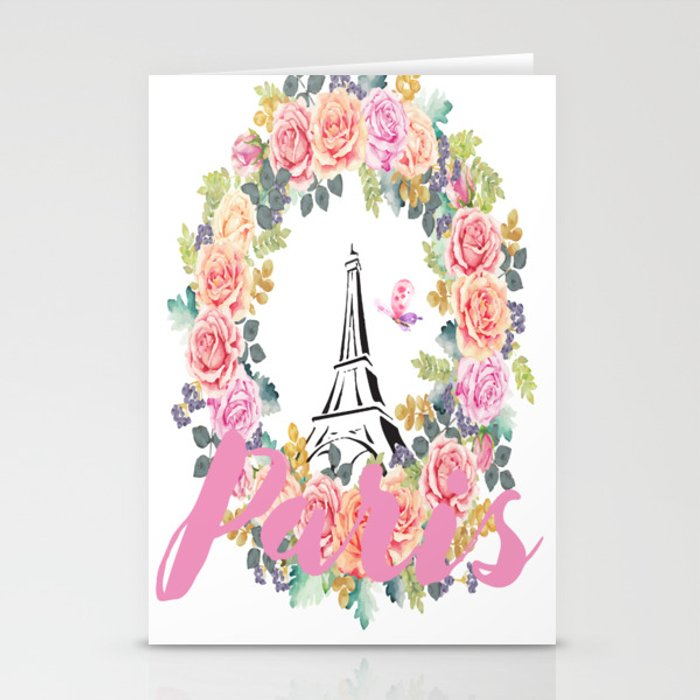 Paris Wreath Stationery Cards