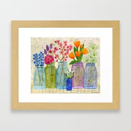 Springs Flowers in Old Jars Framed Art Print