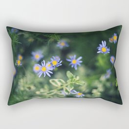 Blue and Yellow Flowers Rectangular Pillow