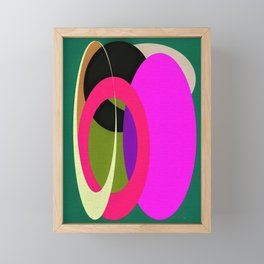 Abstract Composition in Green and Fuchsia Framed Mini Art Print