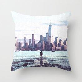 New York Skyline Views and Vibes Throw Pillow