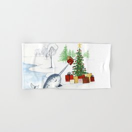 Christmas Narwhal Hand & Bath Towel