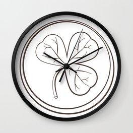 Shamrock Dark Outline Pattern Wall Clock