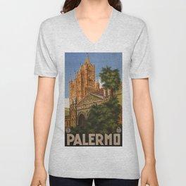 vintage Palermo Sicily Italian travel ad Unisex V-Neck