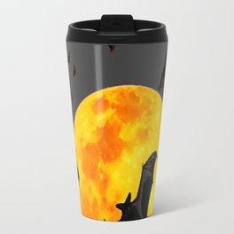 GREY HALLOWEEN BAT MIGRATION TO  MOON ART Travel Mug