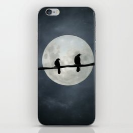 Two Crows In The Light Of A Silvery Moon iPhone Skin