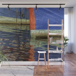 Colorful abstract boat reflection on water Wall Mural
