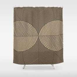 Minimal Tropical Leaves Pastel Beige Shower Curtain