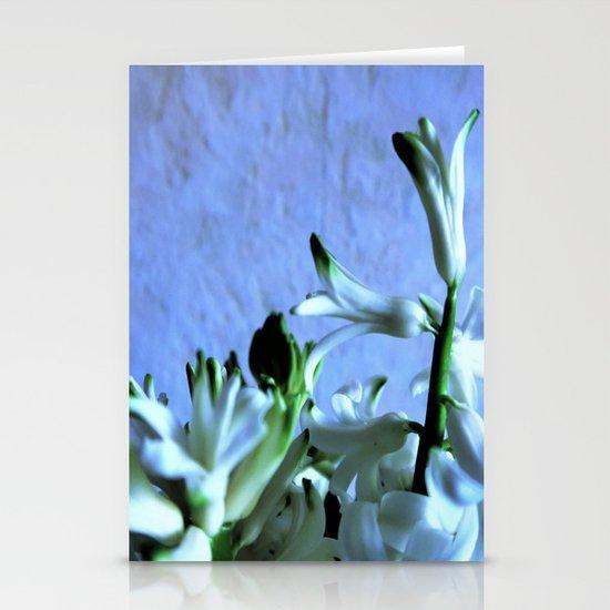 white hyacinthe on light blue background Stationery Cards
