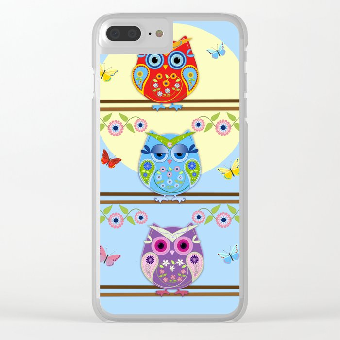 Chilling Summer owls Clear iPhone Case