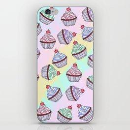 Cute Colorful Rainbow Foodie Cherry Cupcakes iPhone Skin