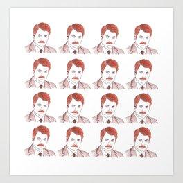 "Ron Swanson ""Diptych"" Art Print"