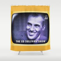 ed sheeran Shower Curtains featuring The Ed Sullivan Show by lanjee