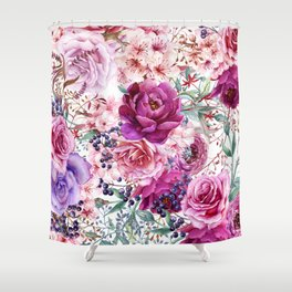 Roses and Peonies Collage Shower Curtain