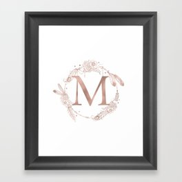 Letter M Rose Gold Pink Initial Monogram Framed Art Print