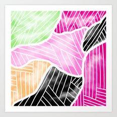 Modern abstract bright watercolor block geometric stripes pattern Art Print
