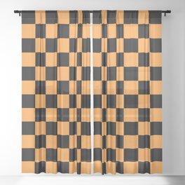 Checkered Pattern Black and Light Orange Sheer Curtain