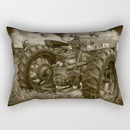Abandoned Old Farmall Tractor in Sepia Tone Rectangular Pillow