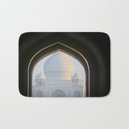 First View of Taj Mahal through the Morning Mist Bath Mat