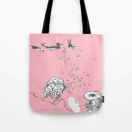 Two Tailed Duck and Jellyfish Baby Pink Deep Tote Bag