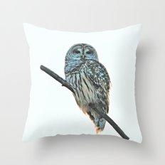 Barred Owl at Sunset Throw Pillow
