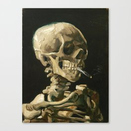 Van Gogh Head of a skeleton with a burning cigarette Canvas Print
