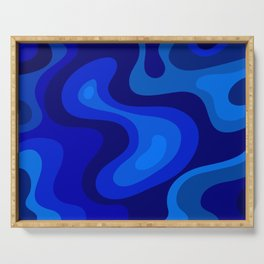 Multicolor Blue Liquid Abstract Design Serving Tray