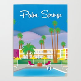 Palm Springs, California - Skyline Illustration by Loose Petals Poster