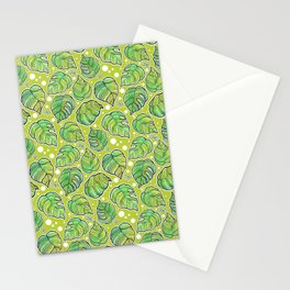 Green Leaves Floral Pattern Stationery Cards