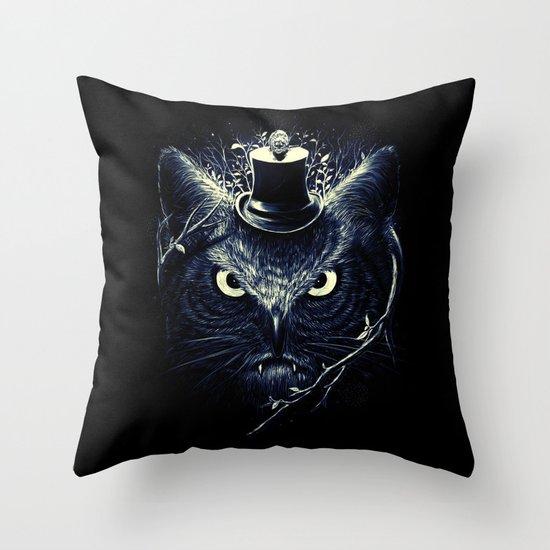 Meowl (Blue) Throw Pillow