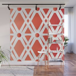 Bold Flaming Red Fretwork Wall Mural