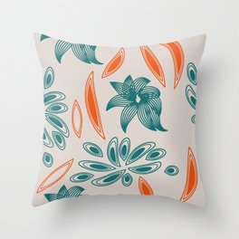 pattern with flowers and leaves Throw Pillow
