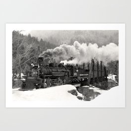 Durango & Silverton #486 Black and White Train Photo, Steam Train Photography, Durango Colorado Art Art Print