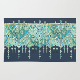 Art Deco Double Drop in Blues and Greens Rug