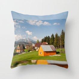 Bucolic view in Koscielisko village Throw Pillow