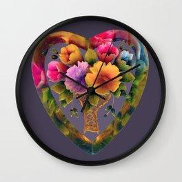 Floral heart. Wall Clock
