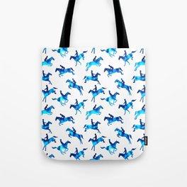 Watercolor Showjumping Horses (Blue) Tote Bag