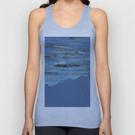 Moon over blue mountains Unisex Tank Top