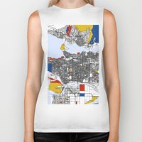 vancouver Biker Tanks featuring Vancouver by Mondrian Maps