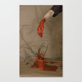 Rootless. Red hand Canvas Print