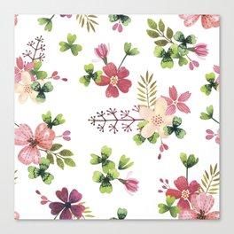 pink-green flowerbed Canvas Print